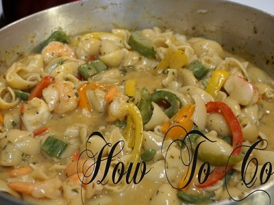 HOW TO MAKE JAMAICAN STYLE RASTA PASTA WITH COCONUT MILK & SEAFOOD RECIPE 2017