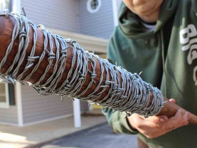 How to make Lucile - Negan's bat from The Walking Dead. Bat wrapped in bared wire.