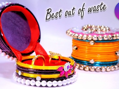 How to make  ring storage boxes from old waste bangles | Best out of waste | DIY | Artkala 204