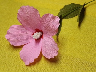 How to Make Rose of Sharon Paper flowers - Flower Making of Crepe Paper - Paper Flower Tutorial