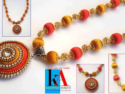 How to make silk thread pendent at home in 8 minutes !! Silk thread Designer Bridal Necklace