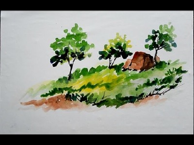 How To make simple Landscape with Watercolor (easy landscape drawing) | landscape painting |