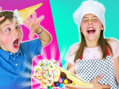 How To Make Surprise Candy Unicorn Horn Ice Cream Sugar Cone Cupcake Chef Ava Kids Cooking Crafts