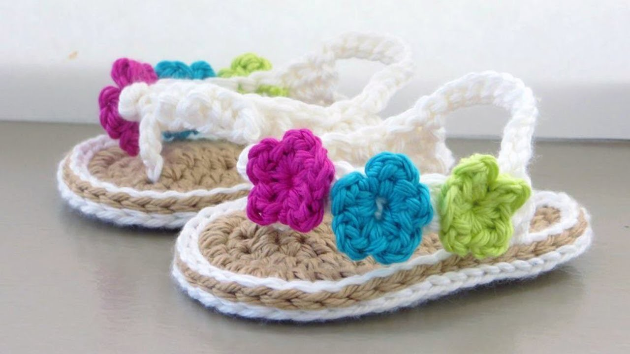 Simple Crochet Patterns For Baby Booties : Crochet Baby Sandals Tutorial, My Crafts and DIY Projects