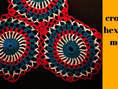 CROCHET:HEXAGON MOTIF.crochet motif.