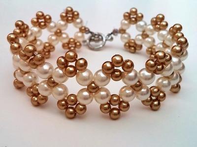 Easy beaded bracelet pattern. How to make  bracelet using 2 sizes of pearl beads