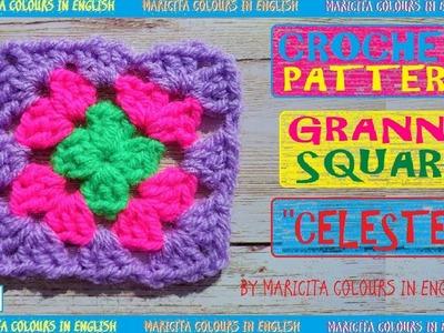 "Granny Square ""Celeste"" Crochet Pattern by Maricita"