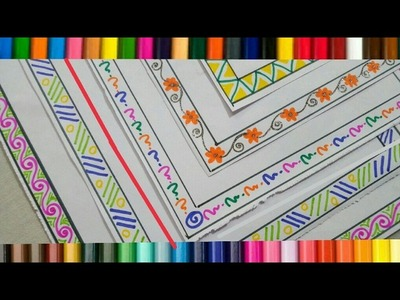 How to decorate borders of project files ? 6 attractive borders drawing ideas for project ! Frames