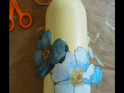 How to Decoupage a Bottle Making it into a Gift-- #1