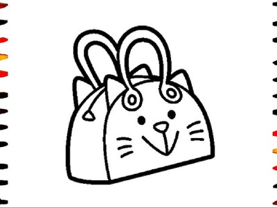 How To Draw and Color Kitty Bag l Handbag for Kids Coloring Pages Videos For Children l Learn Colors