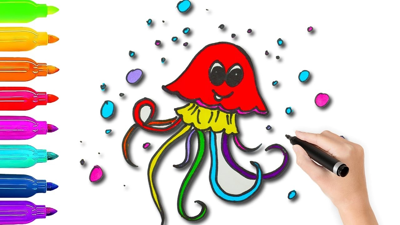 How To Draw Jellyfish Coloring Pages l Coloring Book Videos For Children