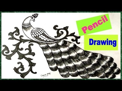 How to Draw Peacock with Beautiful Feather Design | Pencil Art