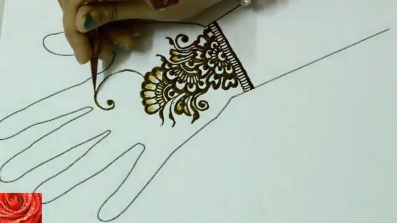 How To Draw Simple Henna Mehndi Design On A Hand Easy Mehndi