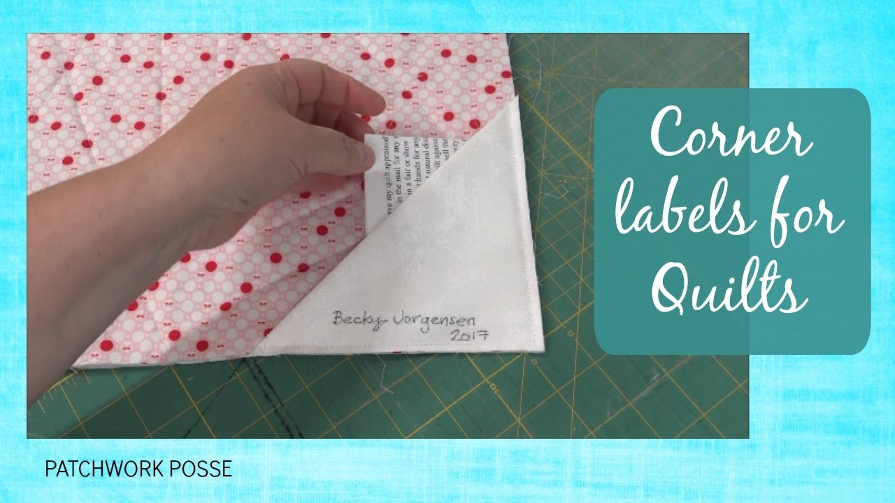 How to make a corner label on the back of quilt