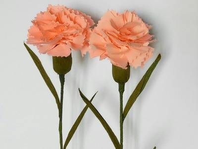 How to make Carnation Flower from crepe paper?