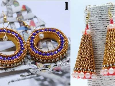 How to Make Designer Earrings with Newspaper, DIY Paper Jewelry | By CraftingHours