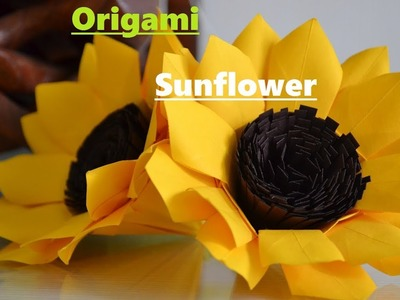 How To Make Origami Paper Sunflower !!! Easy Origami Sunflower !! Origami Paper Art