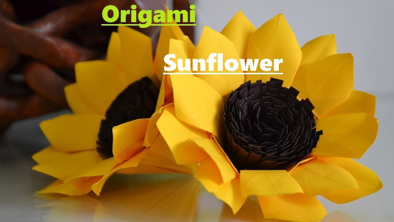 How to make origami paper sunflower easy origami sunflower how to make origami paper sunflower easy origami sunflower origami paper art jeuxipadfo Gallery