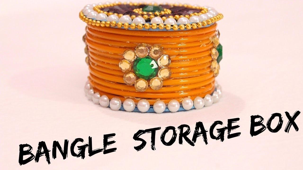 How to make storage box  from old waste bangles I Convert bangles into box I DIY I Creative Diaries
