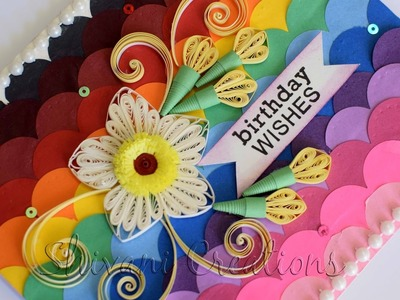 Quilling Birthday Card. How to make Card backgrounds