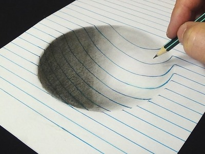 3D Drawing for Kids & Adults - How to Draw Concave surface with pencil - Art on Line Paper