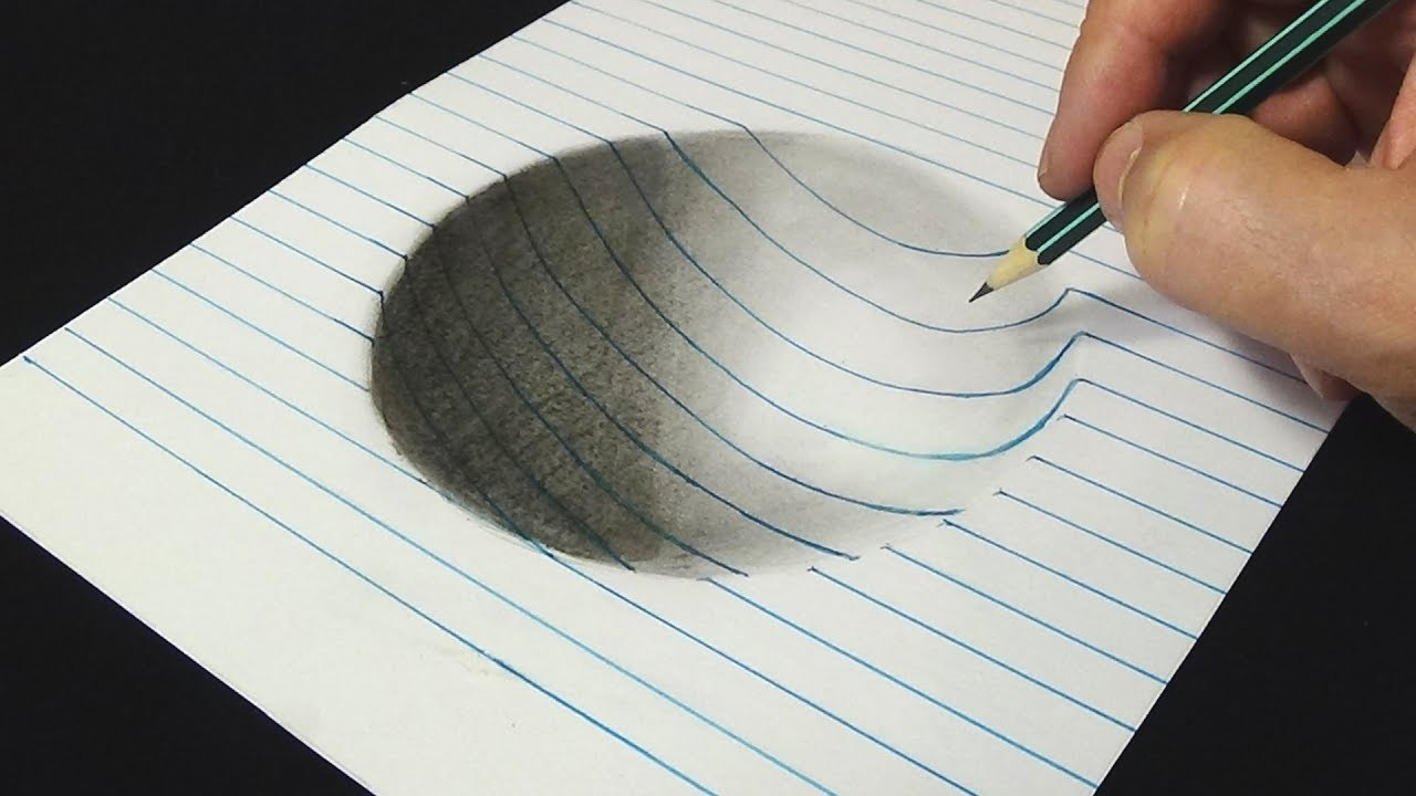 Easy 3d Line Drawings : D drawing for kids adults how to draw concave surface
