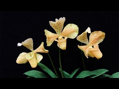 ABC TV | How To Make Paphiopedilum Gratrixianum Orchid Flower From Crepe Paper - Craft Tutorial