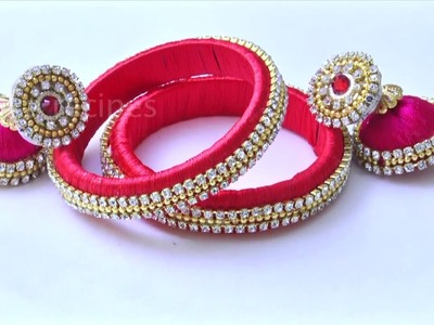 Beautiful Gold Stone Silk Threads Bangles Making DIY  | Latest Silk  Threads Bangles for Party Wear