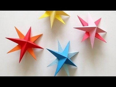 Birthday party decorations at home DIY Hanging Paper 3d Star Tutorial for Christmas, Birthday, Part