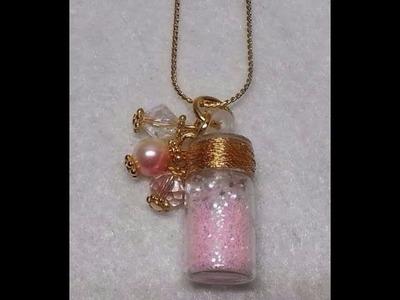 DIY~Beautiful Dollar Tree Bottle Pendant Charm Necklace Collab W.Craftie!