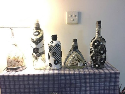 DIY Decoupage Yarn Glass Bottle