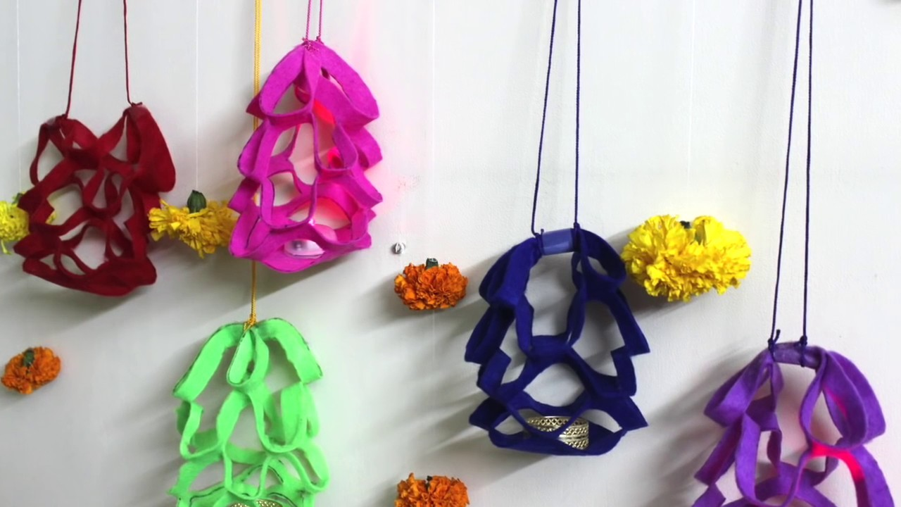 Diy Diwali Decoration At Home Idea How To Make Felt Paper Lanterns