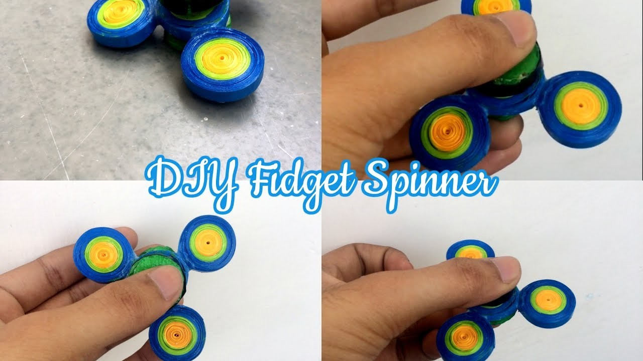 DIY Fidget spinner by paper quilling without bearing and without super glue or hot glue, free cost.