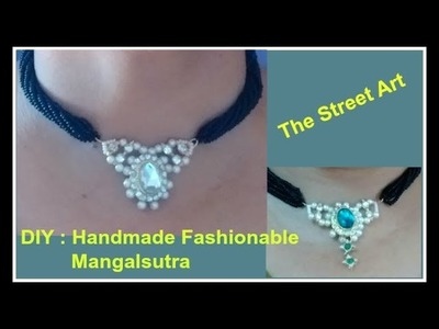 DIY Handmade Fashionable Black beaded necklace |घर बैठे मंगलसूत्र कैसे बनाये |Daily wear Mangalsutra
