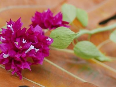 DIY - How to make Bougainvillea flower by crepe paper  Làm hoa giấy bằng giấy nhún