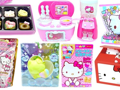 Hello Kitty Squishy Chocolate Biscuit DIY Drink Bath Ball Coin Bank Kitchen Toy Compilation