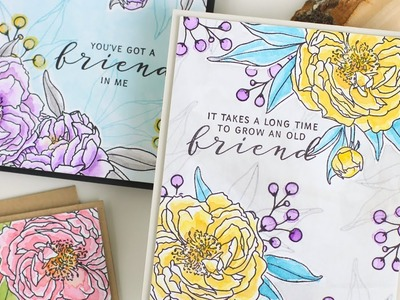 How To: EASY Watercolored Floral Vignette Cards with Dawn