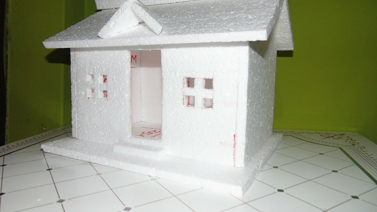 How to Make a Small Thermocol House Model, Easy homemade project for