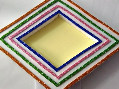 How to make hand made photo frame || simple and beautiful photo frame|| diamond shape photo frame