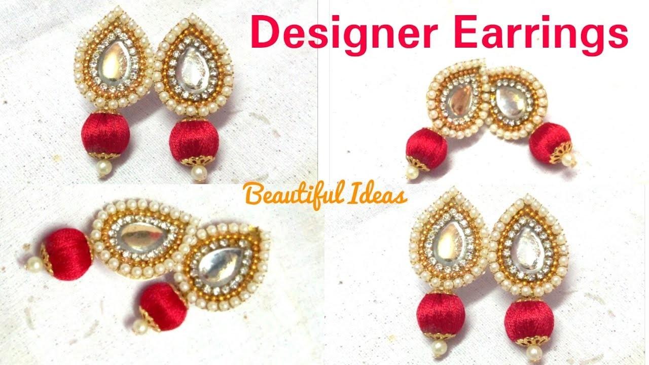 How to make Silk thread Designer Earrings.Paper Designer Earrings ...