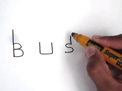 How to turn word BUS into a Cartoon | Step By Step Art | Drawing doodle art on paper