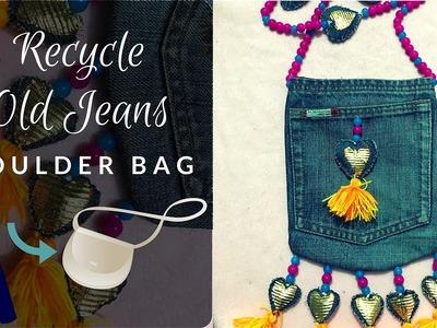 Make a Shoulder Bag for Women | Recycle Old Jeans | DIY Sling Bag