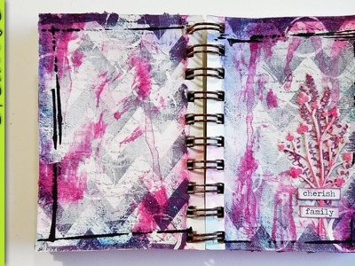 Paper Napkin Mini Art Journal Background + Glass Bead Gel + Inktense Pencils - Mixed Media