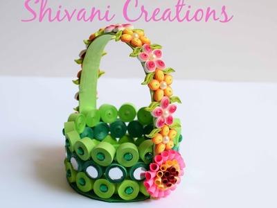 Paper Quilling Basket. Green Paper Strip Basket. DIY Flower Basket