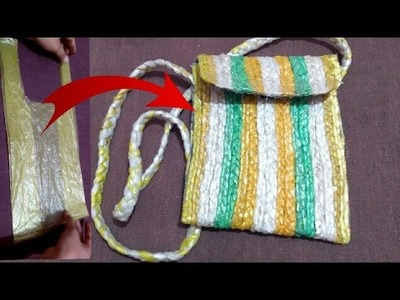 Recycle plastic bag :- How to make side bag with plastic bag