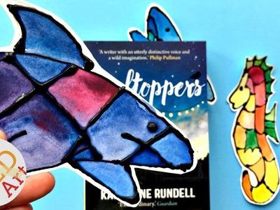 Black Glue & Watercolour BOOKMARK Ideas - Shark Bookmark DIY & Seahorse Bookmark DIY