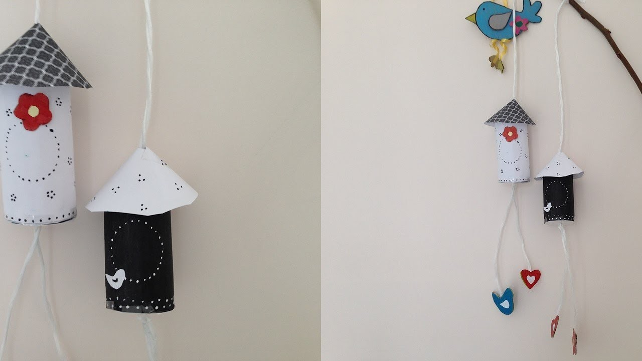 Diy bird house wall hanging with tissue roll home decor for Wall hanging best out of waste