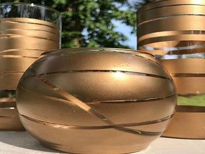 DIY DOLLAR TREE GOLD CANDLE HOLDERS   CENTERPIECE IDEAS