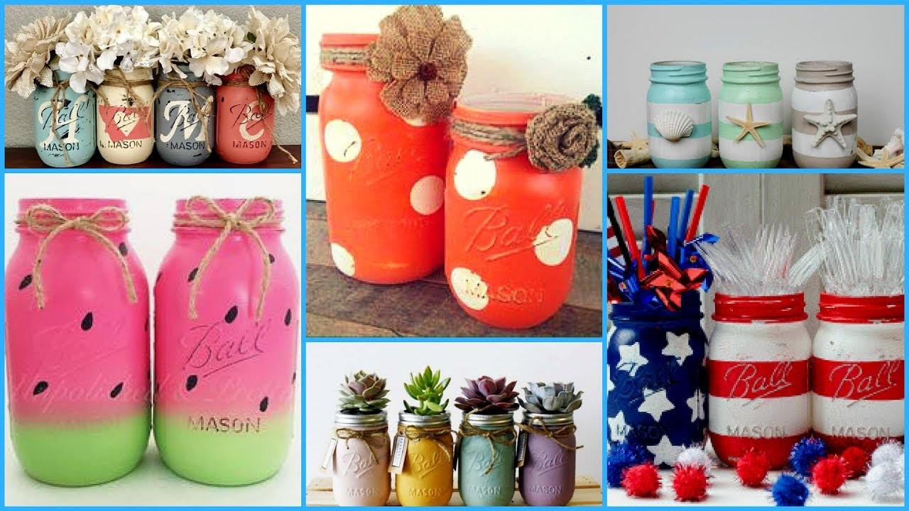Mason Jars With Craft Supplies