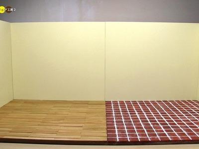 DIY Miniature Dollhouse Living Room and kitchen Space ミニチュアリビングルーム&キッチンスペース作り